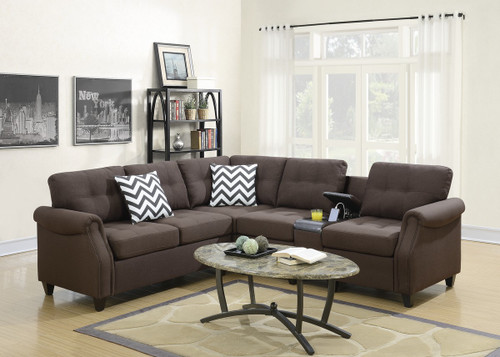 2PC FABIO MODULAR SECTIONAL SET IN DARK COFFEE-F6596