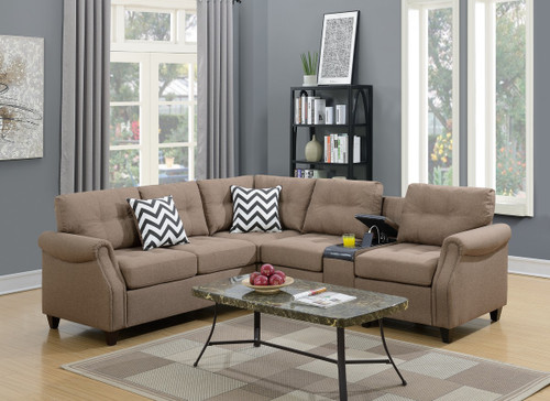2PC FABIO MODULAR SECTIONAL SET IN LIGHT COFFEE-F6595