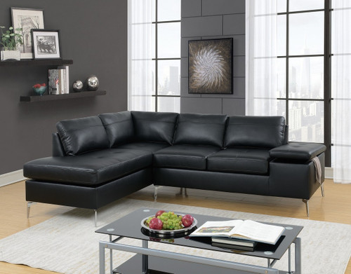 2PC FAUSTO SECTIONAL SET IN BLACK-F6519
