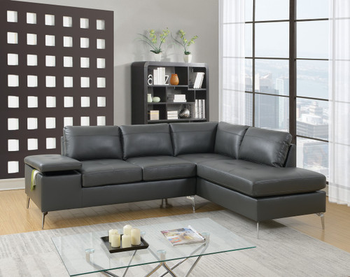 2PC FAUSTO SECTIONAL SET IN GREY-F6520
