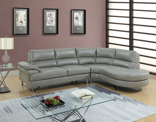 2PC LAZZARO SECTIONAL SET IN GREY-F6570