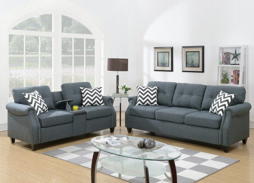 F6411 2pcs Marino Sofa Set In Blue Grey By Poundex