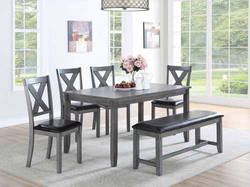 6PCS NAPOLEON DINING TABLE SET IN GREY-F2548