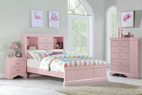 ADONIS DESIGN TWIN/FULL BED IN LIGHT PINK-F9424
