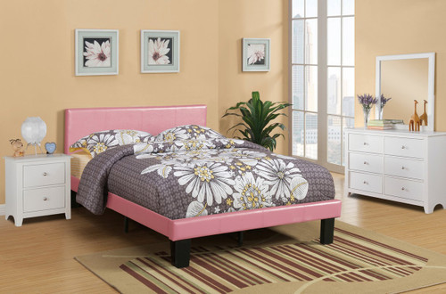 MODERN TWIN/FULL SIZE BED UPHOLSETERED IN PINK FAUX LEATHER-F9300