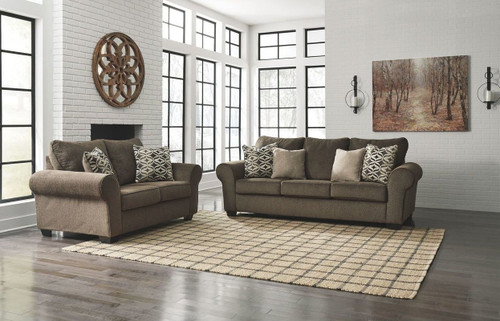 2 PCS NESSO WALNUT SOFA & LOVESEAT-49102-38-35