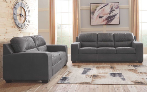 2 PCS NARZOLE DARK GRAY SOFA & LOVESEAT-74401-38-35