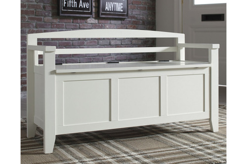 CHARVANNA WHITE STORAGE BENCH-A4000058