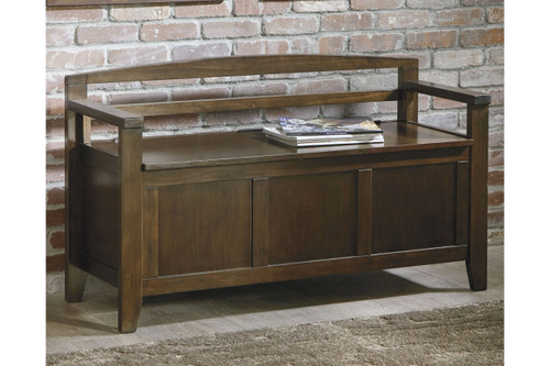CHARVANNA DARK BROWN STORAGE BENCH-A4000059