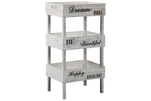 This farmhouse style Yulton Storage Shelf is perfect for a kitchen, bathroom or mudroom.