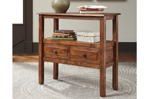 ABBONTO WARM BROWN ACCENT TABLE-T800-124