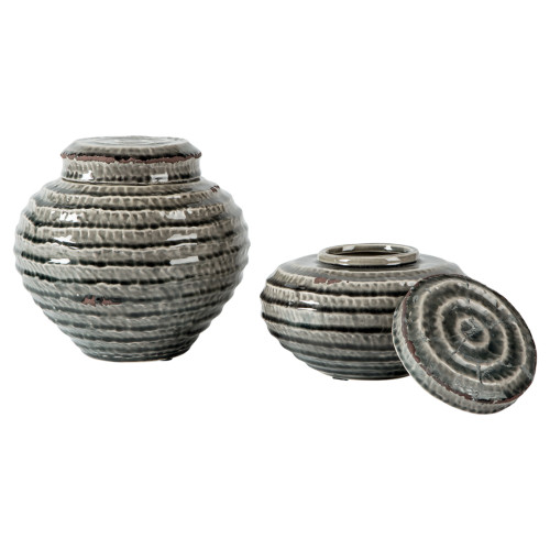 DEVONEE ANTIQUE GRAY JAR (SET OF 2)-A2000265