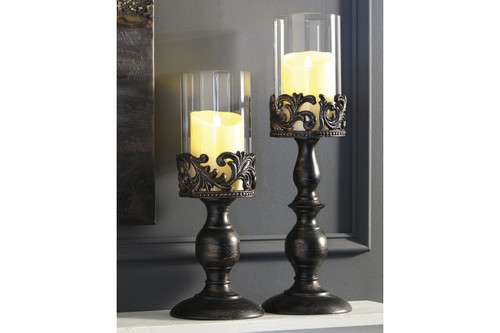 CONSTANCE ANTIQUE BLACK CANDLE HOLDER (SET OF 2)-A2000359