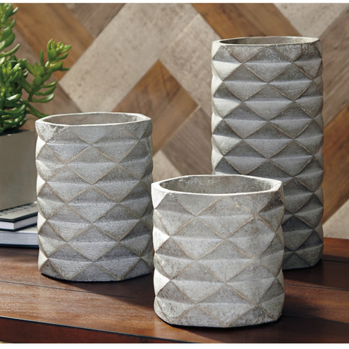 CHARLOT GRAY VASE (SET OF 3)-A2000312