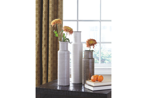 DEUS GRAY/WHITE/BROWN VASE (SET OF 3)-A2000132