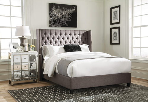 BENICIA GREY UPHOLSTERED BED
