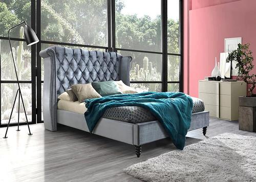HOLLYWOOD GRAY PLATFORM BED (NO BOXSPRING REQUIRED)-B9100-GR