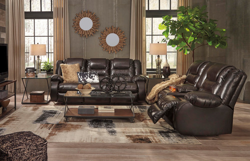 2PC VACHERIE CHOCOLATE SOFA AND LOVESEAT RECLINING SET-79307-88-94
