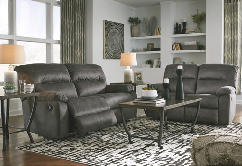 2 PC BOLZANO SLATE SOFA AND LOVESEAT RECLINING SET
