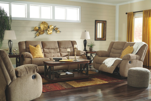 2 PC TULLEN MOCHA SOFA AND LOVESEAT RECLINING SET