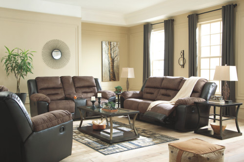 2 PC EARHART COFFEE SOFA AND LOVESEAT RECLINING SET