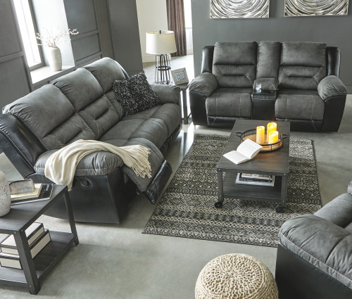 2 PC EARHART SLATE SOFA AND LOVESEAT RECLINING SET