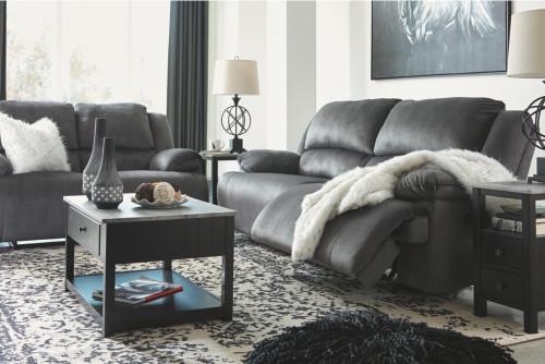 2 PC CLONMEL CHARCOAL SOFA AND LOVESEAT RECLINING SET