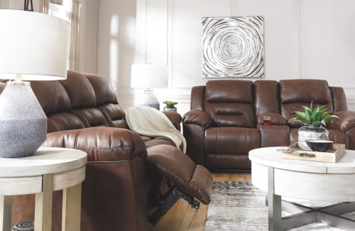2 PC STONELANE CHOCOLATE SOFA AND LOVESEAT RECLINING SET