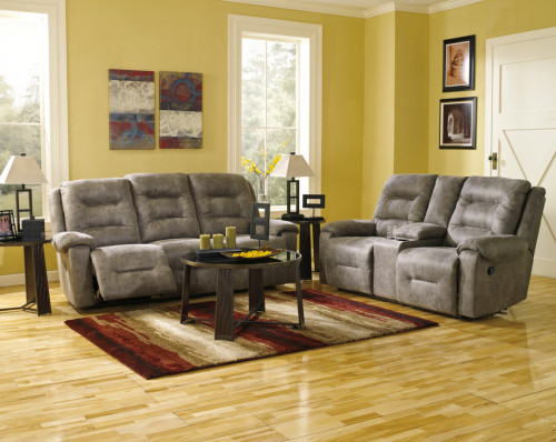 2 PC ROTATION SMOKE SOFA AND LOVESEAT RECLINING SET