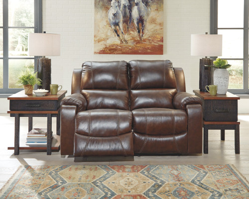 2 PC RACKINBURG MAHOGANY SOFA AND LOVESEAT RECLINING SET