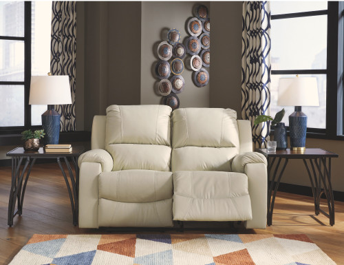 2 PC RACKINBURG CREAM SOFA AND LOVESEAT RECLINING SET