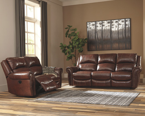2 PC BINGEN HARNESS SOFA AND LOVESEAT RECLINING SET