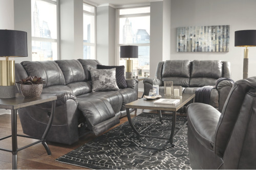 2 PC PERSIPHONE CHARCOAL SOFA AND LOVESEAT RECLINING SET