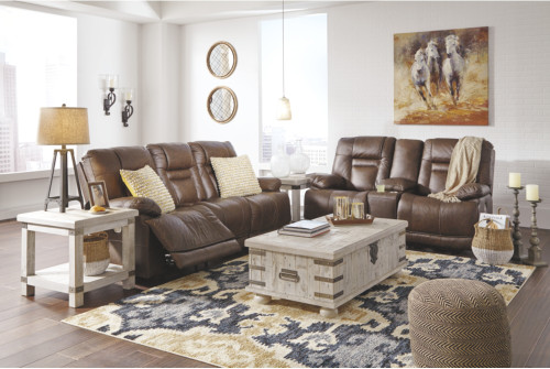 2 PC WURSTROW UMBER PWR EZV Headrest Sofa And Loveseat Reclining Set