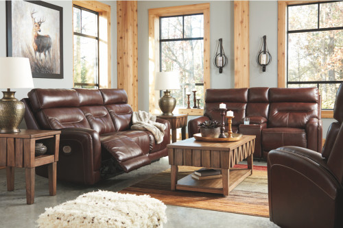 2 PC Sessom-Walnut PWR EZV Headrest Sofa and Loveseat Reclining Set
