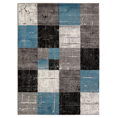 City Tiles Blue/Black Area Rug
