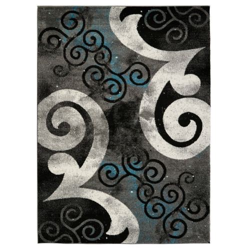 City Swirl Gray/Blue Area Rug