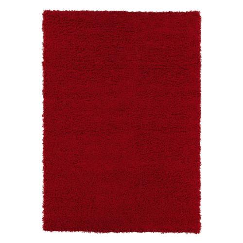 Cozy Solid Dark Red Shag Area Rug