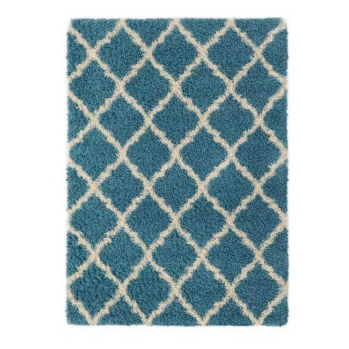 Cozy Moroccan Turquoise Shag Area Rug
