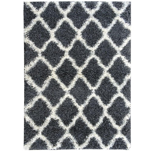 Cozy Moroccan Dark Grey Shag Area Rug