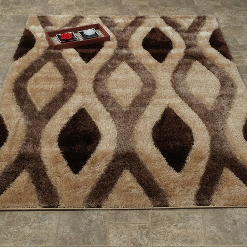 Casa Shag -3D Brown/Beige Area Rug
