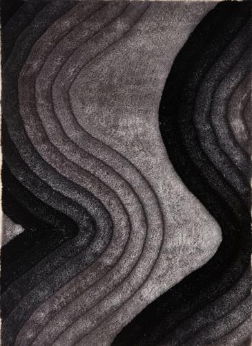 Crown Shag- 3D Gray/Black Area Rug