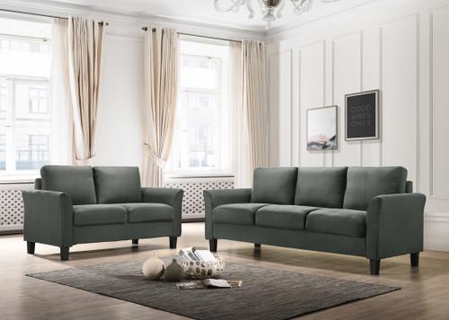 2PC Denmark Sofa And Loveseat Set Steel Gray