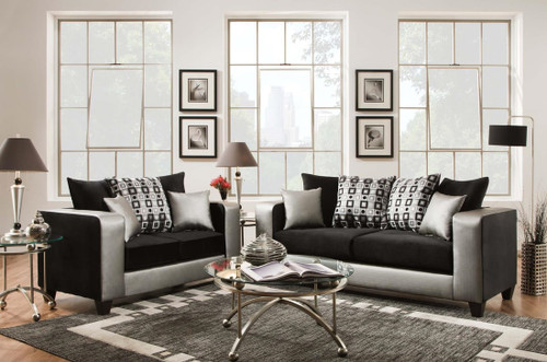 2PC Alessandro Sofa And Loveseat Set Silver