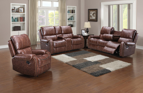 3PC Santiago Collection Reclining Set In Brown