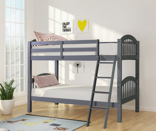 Leonardo Twin Over Twin Bunk Bed In Gray