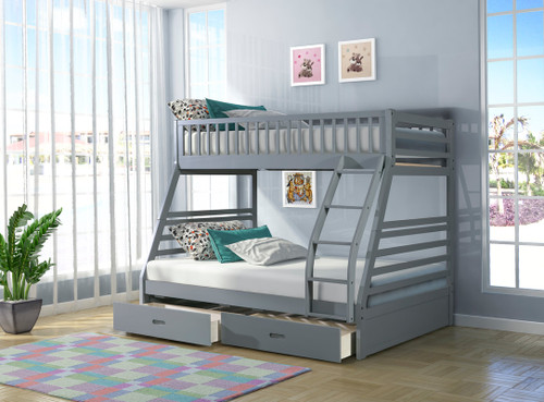 Riccardo Twin Over Full Grey Bunk Bed + 2 Drawers