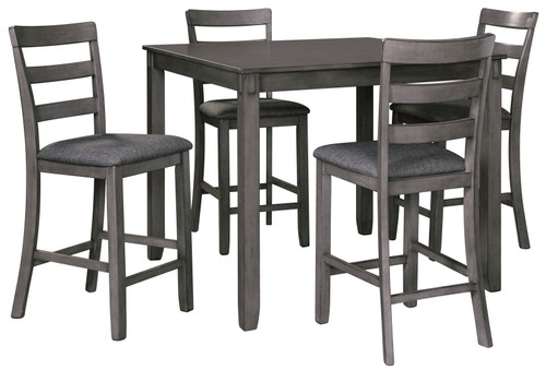 BRIDSON 5 PCS SQUARE COUNTER HEIGHT TABLE SET IN GRAY COLOR