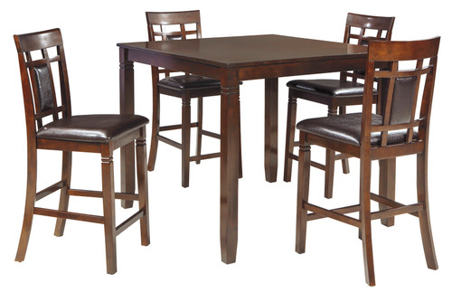 BENNOX 5 PCS SQUARE COUNTER HEIGHT TABLE SET IN BROWN COLOR