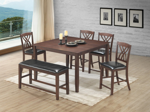 6PC Aldo Counter Height Dining Table Set In Brown-Espresso